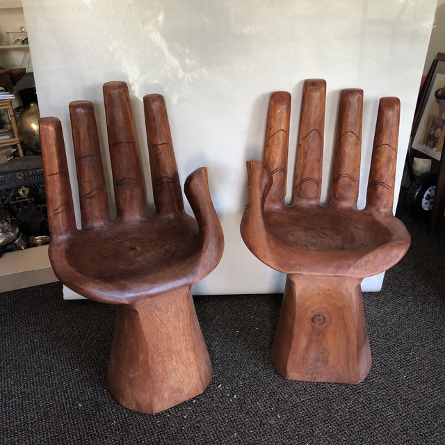 Wooden Pedro Friedeberg Style Hand Chairs- a Pair For Sale - Image 9 of 9
