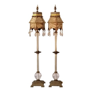 Contemporary Boho Glass and Metal Lamps - a Pair For Sale