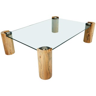 Karl Springer Macassar Wood, Bronze, Chrome and Glass Coffee Table For Sale