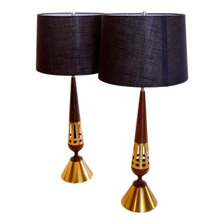 Pair of Tony Paul Brass and Walnut Lamps For Sale