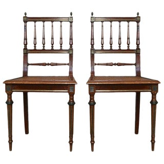1900s French Louis XVI Style Side Chairs With Wicker Seats- A Pair For Sale