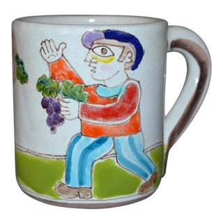 Italian Giovanni Desimone Hand Painted Art Pottery Decor Mug, Cup Grape Picker For Sale