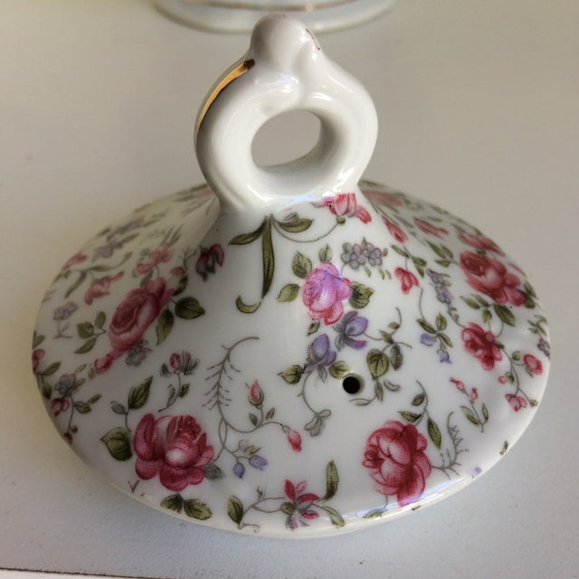 Green Vintage Rose Chintz Musical Tea Pot by Lefton For Sale - Image 8 of 13