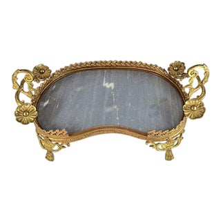 Art Deco/Hollywood Regency Brass & Marble Footed Vanity Tray