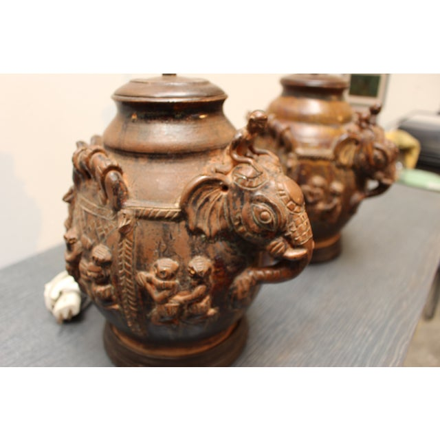East Indian Elephant Lamps- A Pair For Sale - Image 10 of 11
