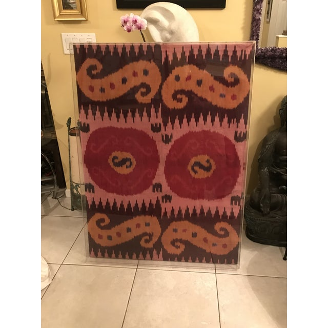 Antique Silk Ikat Display in Lucite Shadowbox For Sale - Image 13 of 13
