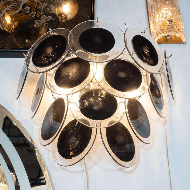 Early 21st Century Modernist 14-Disc Sconces in Handblown Murano Black & Translucent Glass - a Pair For Sale - Image 5 of 6