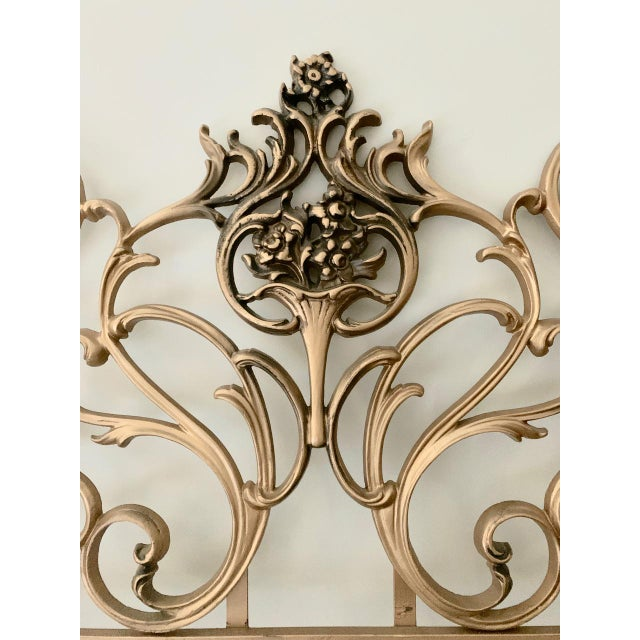 Vintage Gold Iron Twin Headboards With Floral Motif - a Pair For Sale - Image 4 of 11