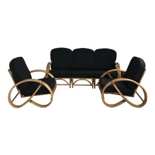 Reverse Pretzel Bamboo Rattan Sofa and Chairs - 3 Piece Set For Sale