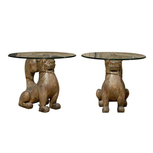 Dramatic Pair of Hand-Carved Foo Dog Tables by Sarreid Ltd For Sale - Image 11 of 11