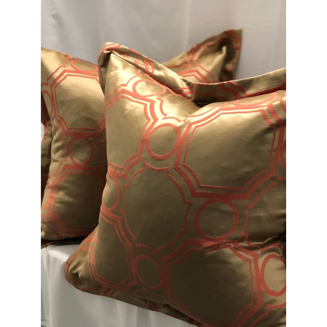 Hollywood Regency Pair of Jim Thompson Flange Edge Pillows For Sale - Image 3 of 8