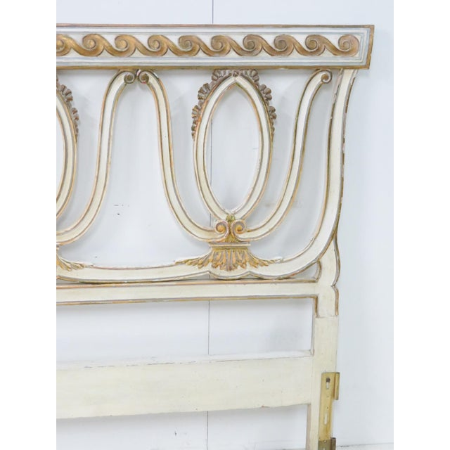 1950s Italian Carved Cream King Headboard For Sale - Image 5 of 11