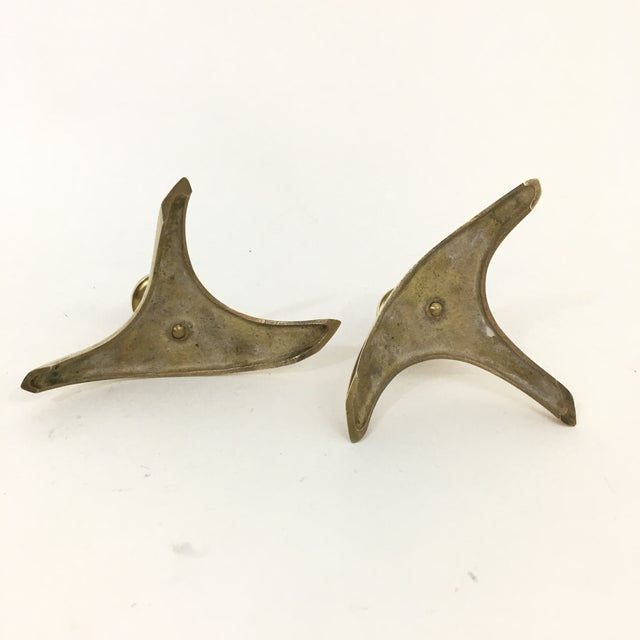 Metal Mid Century Modern Brass Triangle Candlestick Holders - a Pair For Sale - Image 7 of 8