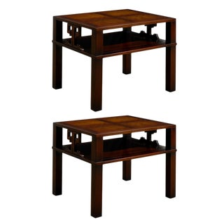 Fabulous Pair of Heritage Henredon End Table/ Night Stands in Flame Mahogony For Sale