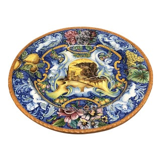 """Beautifully Vibrant & Detailed Italian Pottery Plate or Bowl, Hand Painted & Crafted in Italy, Very Large 28"""" Round"""