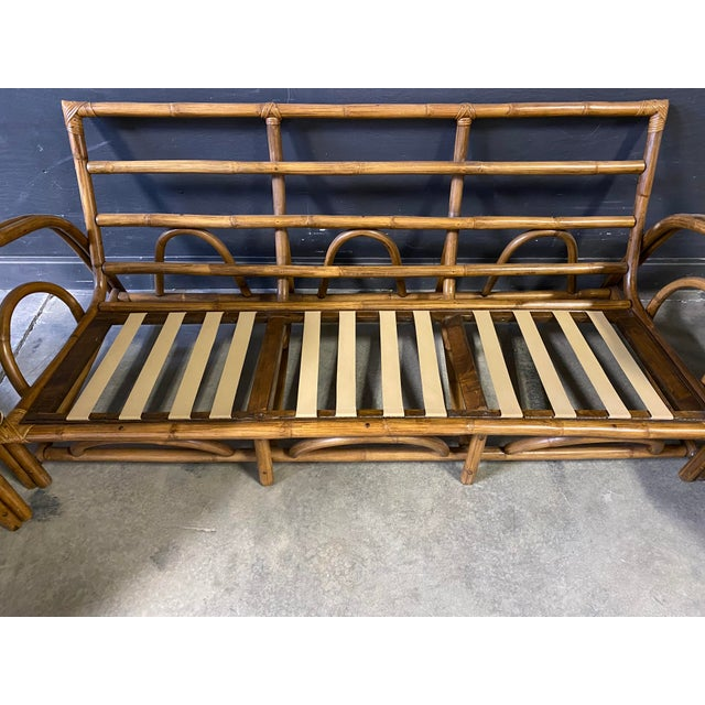 Vintage Paul Frankl Style Rattan Couch & Chairs For Sale - Image 9 of 10