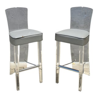 Vintage Lucite & Chrome Barstools - a Pair For Sale