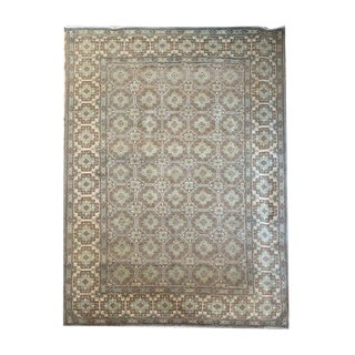 Transitional Geometric 'Khotan' Style Sage Green, Light Blue and Brown Carpet - 6′6″ × 9′9″ For Sale