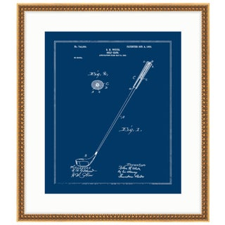 Golf Club 1903 Blueprint Gold Framed Art Print