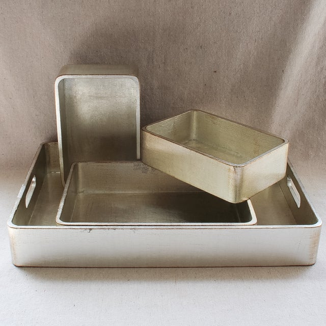 4-Piece Florentine Silver-Gilt Nesting Trays - Image 10 of 11