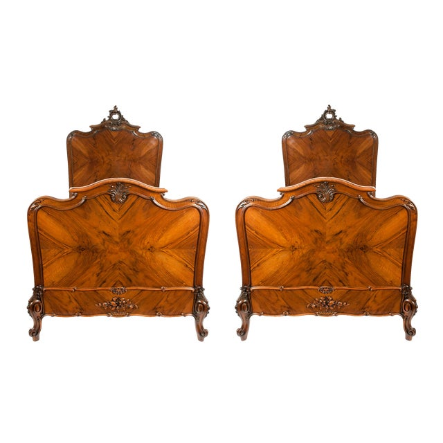 Chippendale Hand Carved Mahogany Matching Single Beds - a Pair For Sale