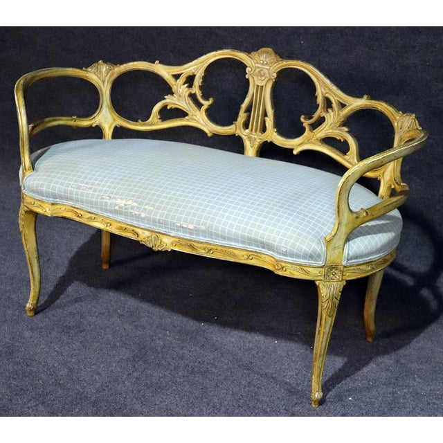 French Louis XV style distressed finish settee.