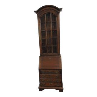 Narrow Oak Chippendale Style Secretary Desk For Sale