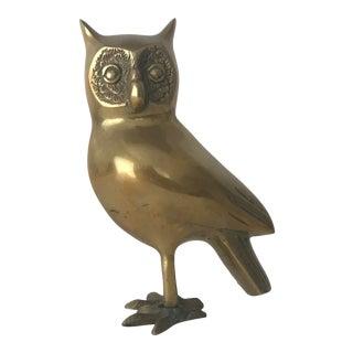 Vintage Mid Century Hollywood Regency Brass Owl For Sale