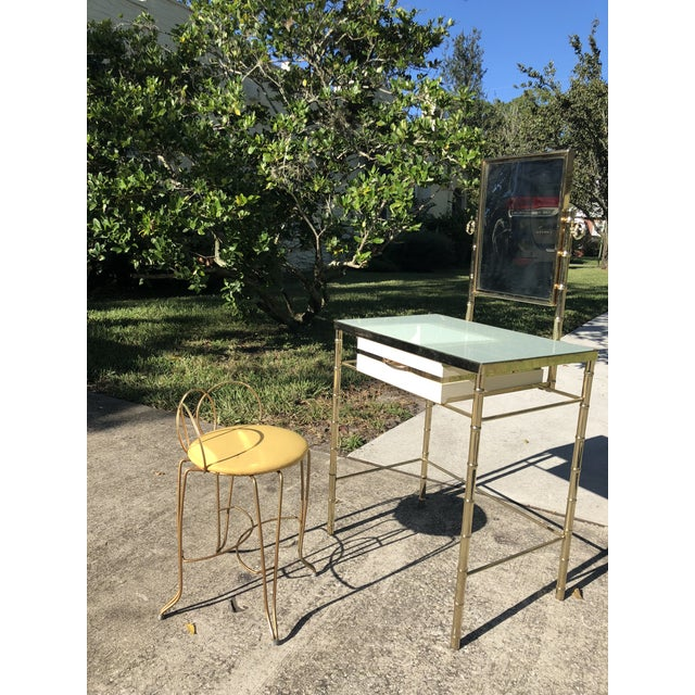 Blue George Koch Brass Bamboo Vanity With Stool For Sale - Image 8 of 9