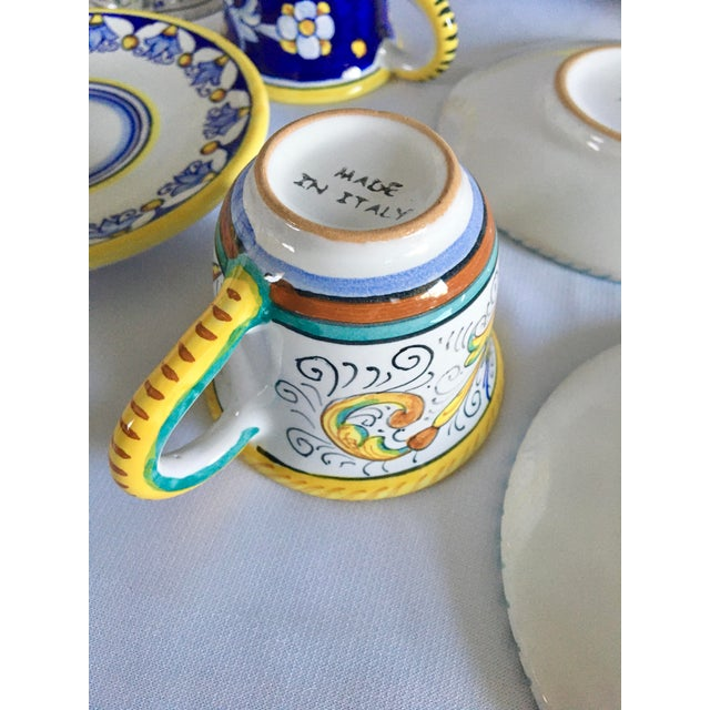 Artistica Italian Majolica Espresso Cups and Saucers - Set of 9 For Sale - Image 9 of 13