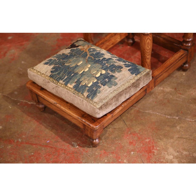 French 18th Century French Carved Chestnut Prayer Chair With Aubusson Tapestry For Sale - Image 3 of 8