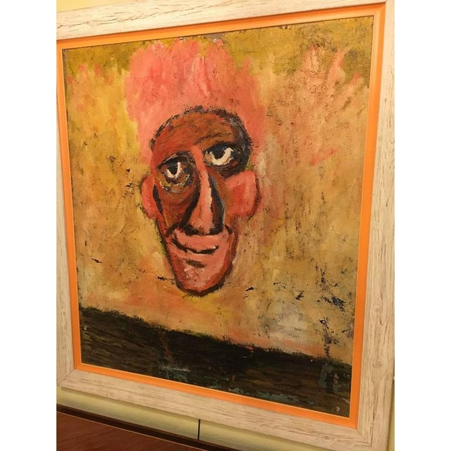 """This is a large framed oil on masonite entitled """"The Nose"""". Not sure who the artist is on this palatial nose. With vibrant..."""