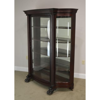 Victorian Mahogany Antique Claw Foot Bow Glass China Display Cabinet Preview