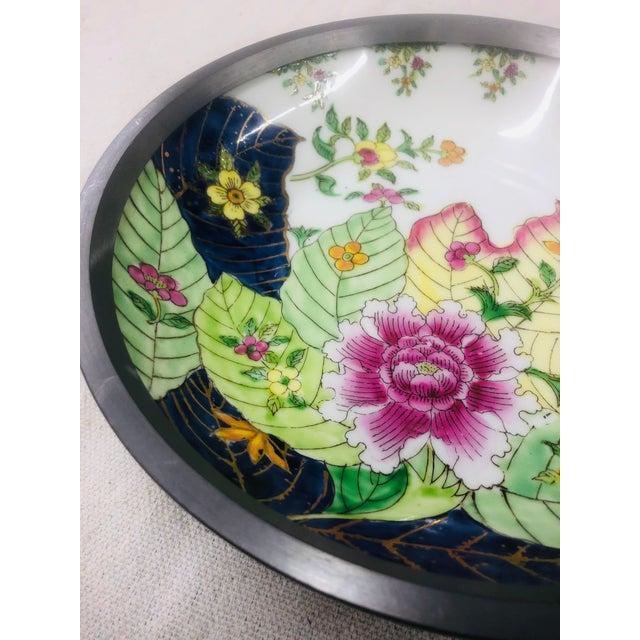 French Tobacco Leaf Pattern Pewter Encased Bowl, Hong Kong For Sale - Image 3 of 7