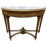 Image of 19th Century French Louis XVI Carved Parcel Gilt Console Table For Sale