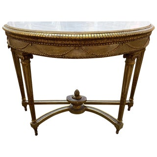 19th Century French Louis XVI Carved Parcel Gilt Console Table For Sale