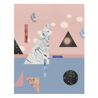 Abstract Colorful Geometric Print in Pink and Blue by Molly Frances For Sale