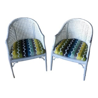 White Caned Chairs - a Pair For Sale
