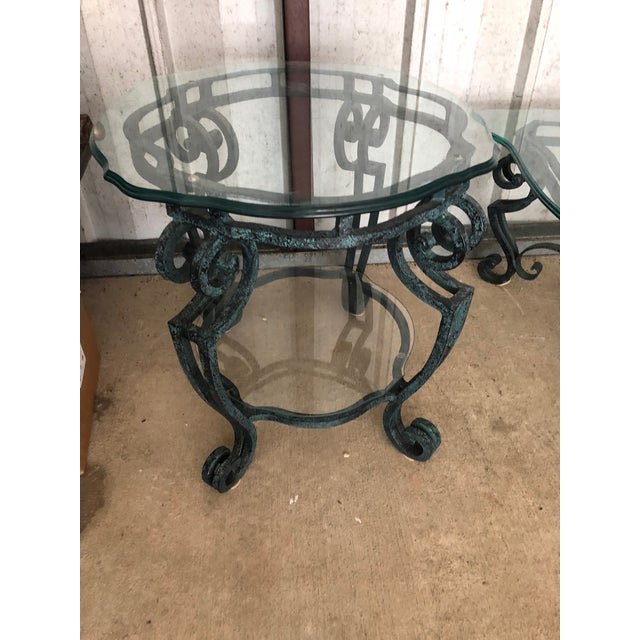 Cast Iron Ballard Designs Scrolled Iron Cocktail Table & Side Table For Sale - Image 7 of 13