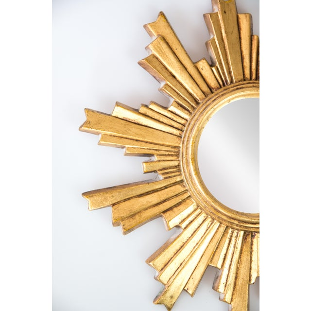 Mid 20th Century Mid Century French Giltwood Convex Sunburst Mirror For Sale - Image 5 of 7