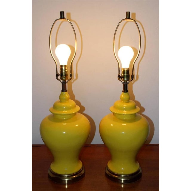 Yellow Mid-Century Ginger Jar Lamps - A Pair - Image 2 of 6