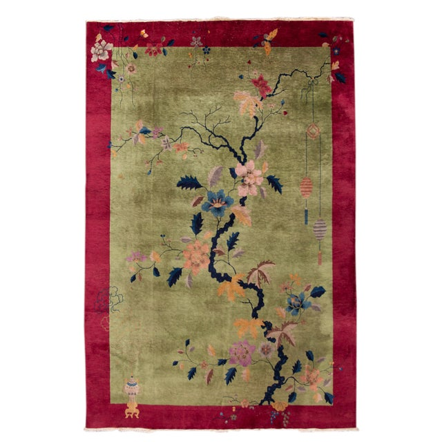 Red Early 20th Century Antique Chinese Art Deco Rug For Sale - Image 8 of 8
