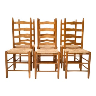 Casual Wicker Seat Dining Chairs - Set of 6