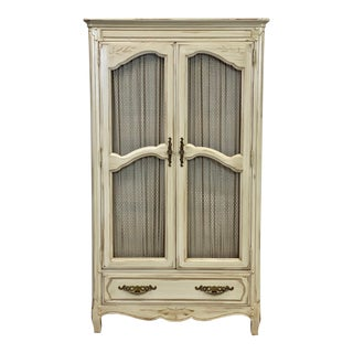 Vintage Davis Cabinet Company Bisque White Armoire For Sale