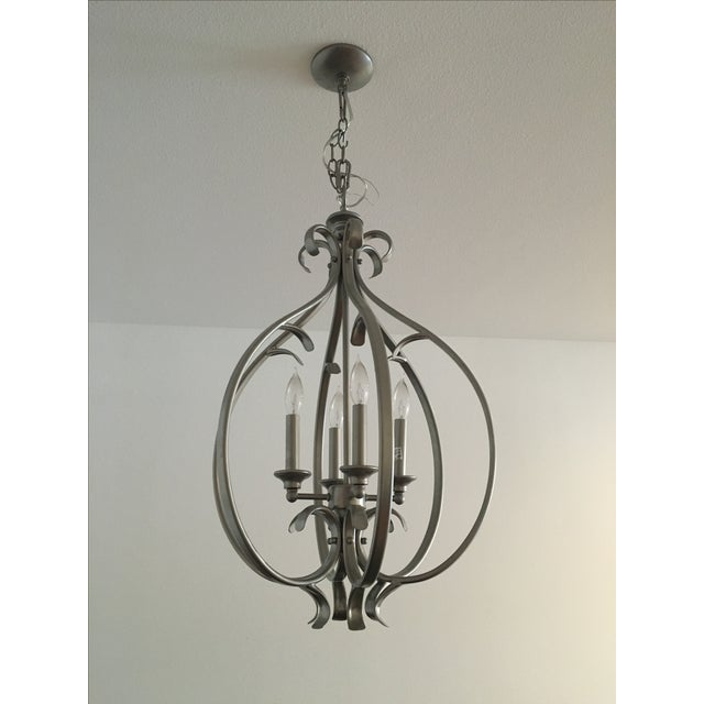 Transitional Silver-Tone Chandelier - Image 2 of 5