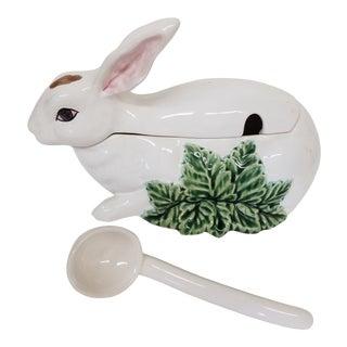 Bordallo Pinheiro Portugal Bunny Tureen With Ladle- 2 Pieces For Sale