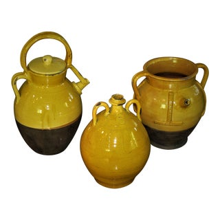 18th Century French Mustard Glazed Confit Pots - Set of 3 For Sale