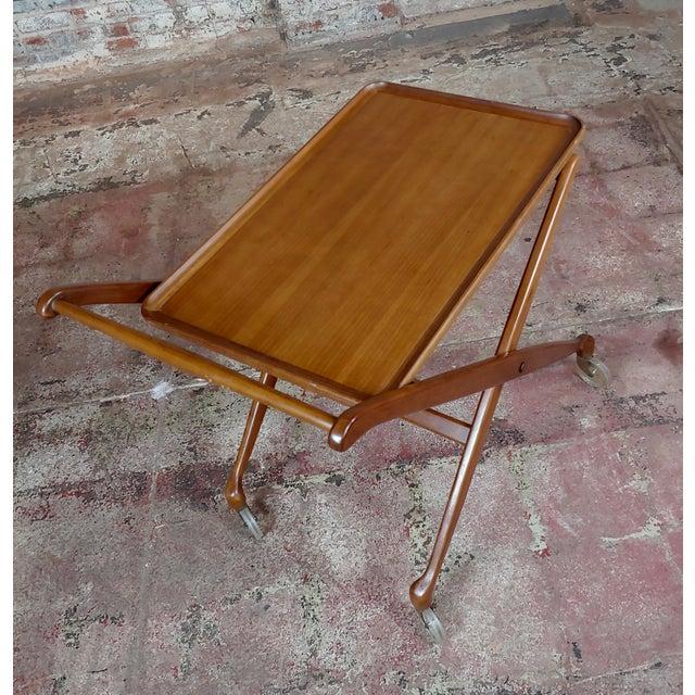 1960s Danish Mid-Century Modern Teak Serving Bar Cart For Sale - Image 4 of 9