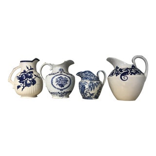 English Blue and White Pitchers - Set of 4 For Sale