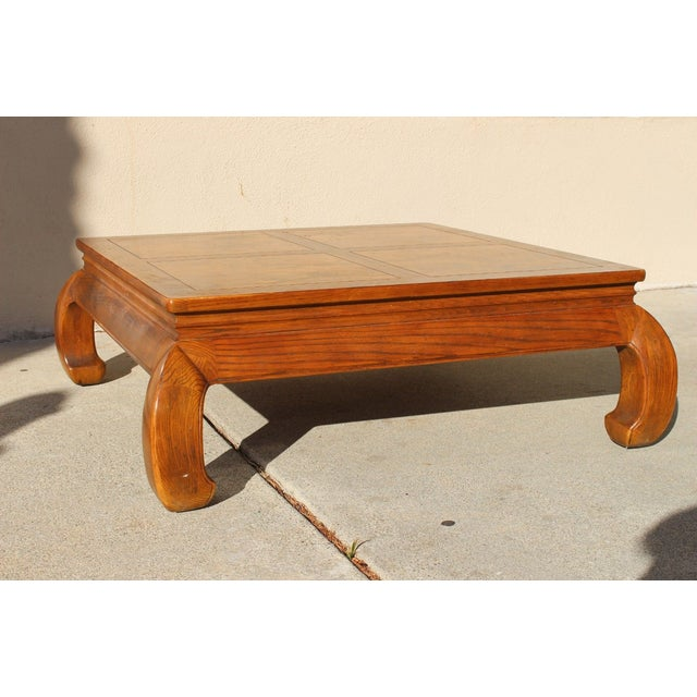 Brown 1940s Ming Henredon Oak Coffee Cocktail Table For Sale - Image 8 of 8
